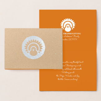 Turkey & Autumn Pattern Thanksgiving Luxury Cards