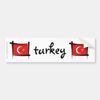 Turkey Brush Flag Bumper Sticker