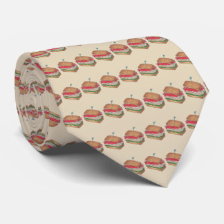Turkey Club Sandwich Restaurant Diner Deli Print Tie