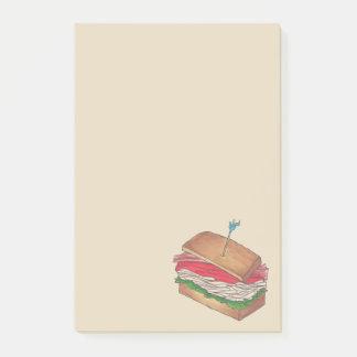 Turkey Club Sandwich Restaurant Diner Foodie Food Post-it Notes