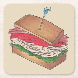 Turkey Club Sandwich Restaurant Diner Foodie Food Square Paper Coaster