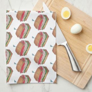 Turkey Club Sandwich Restaurant Diner Foodie Food Tea Towel