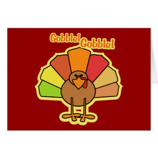Turkey Cute Cartoon Gobble Thanksgiving Design Card