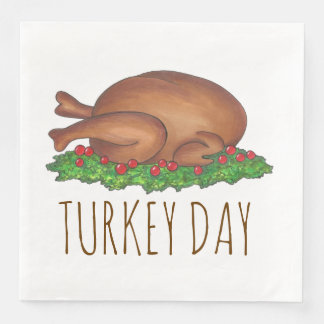 Turkey Day Thanksgiving Dinner Holiday Napkins Disposable Napkins