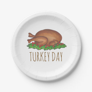 Turkey Day Thanksgiving Dinner Holiday Plates 7 Inch Paper Plate
