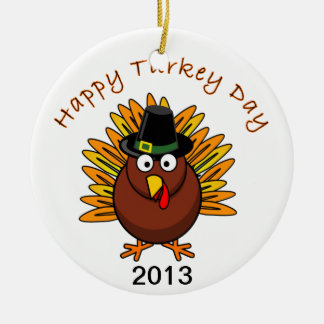 Turkey Day Thanksgiving Holiday Turkey Logo Round Ceramic Decoration