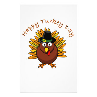 Turkey Day Thanksgiving Holiday Turkey Logo Custom Stationery