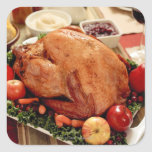 Turkey Dinner Meal Square Stickers