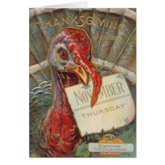 Turkey Eating November Calendar Card