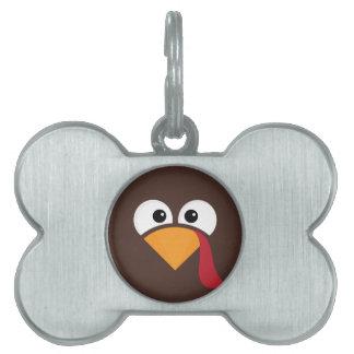 Turkey Face Heart Thanksgiving Pet ID Tag