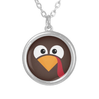 Turkey Face Heart Thanksgiving Silver Plated Necklace