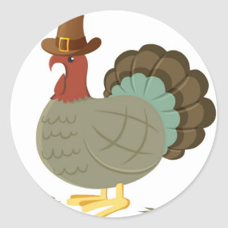 Turkey Fall Leaf Autumn Acorn Thanksgiving Classic Round Sticker