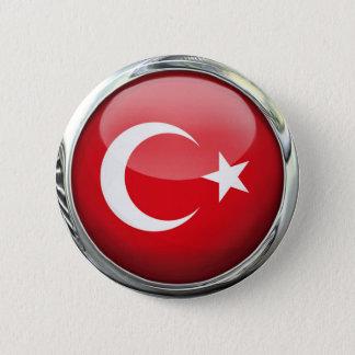 Turkey Flag Glass Ball 6 Cm Round Badge