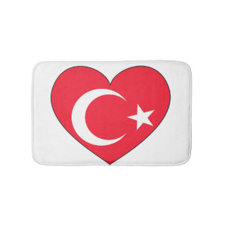 Turkey Flag Heart Bath Mat