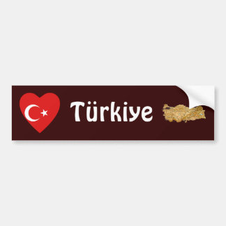 Turkey Flag Heart + Map Bumper Sticker