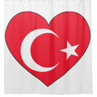 Turkey Flag Heart Shower Curtain
