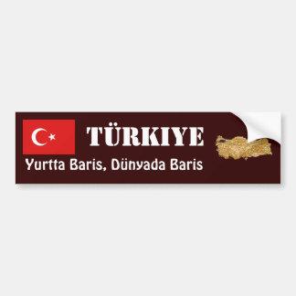 Turkey Flag + Map Bumper Sticker