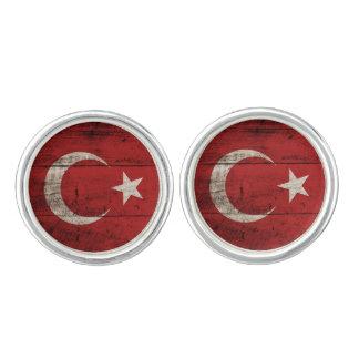 Turkey Flag on Old Wood Grain Cuff Links
