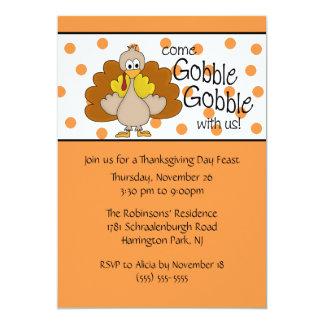 Turkey Gobble, Gobble Thanksgiving Dinner Party Card
