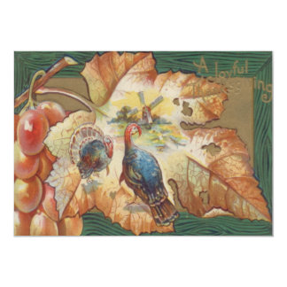Turkey Grapes Windmill Fall Leaf 13 Cm X 18 Cm Invitation Card