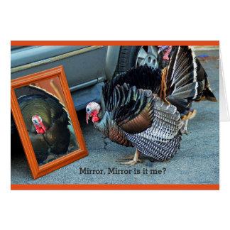 Turkey greeting card gazing at his reflection .
