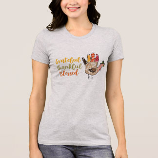 Turkey Hand Thanksgiving Grateful Thankful Blessed T-Shirt