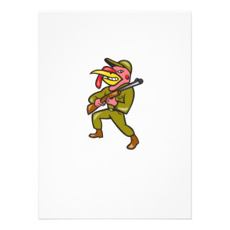 Turkey Hunter Carry Rifle Shotgun Cartoon Custom Invite