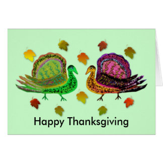 Turkey in the Fall Leaves Cards