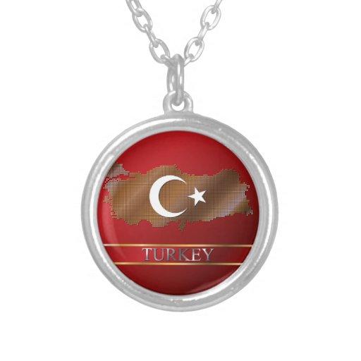 Turkey Map and Turkish Flag Metal Pixel Jewelry