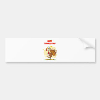 Turkey Mascot Cartoon Character Bumper Sticker