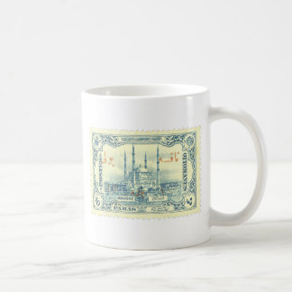 turkey ottoman empire stamp vintage - blue & white basic white mug