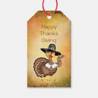 Turkey pilgrim, cornucopia Thanksgiving gift tag