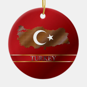Turkey Pixel Map and Turkish Flag Ceramic Ornament