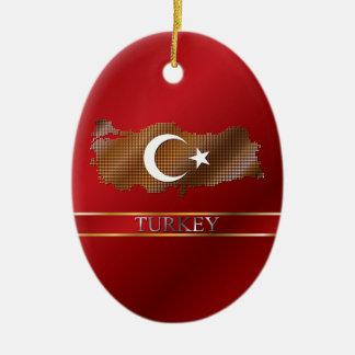 Turkey Pixel Map and Turkish Flag Ceramic Ornament