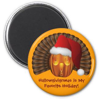 Turkey Pumpkin with a Santa Hat Hallowgivingmas Magnet