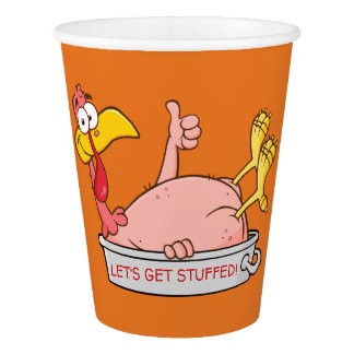Turkey Ready for Thanksgiving Dinner Cartoon Paper Cup