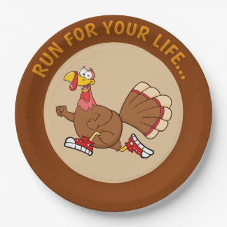 Turkey Run for Your Life Cartoon Paper Plate
