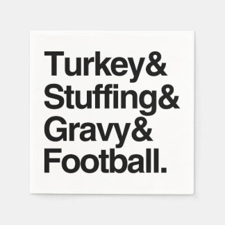 Turkey & Stuffing & Gravy & Football Thanksgiving Disposable Napkins