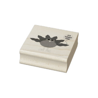 Turkey Time Thanksgiving Wood Art Stamp
