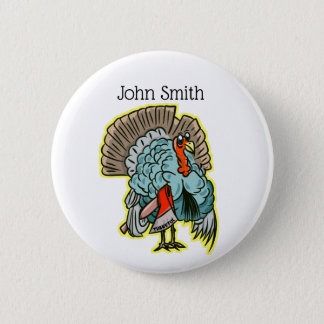 Turkey with an ax funny thanksgiving 6 cm round badge