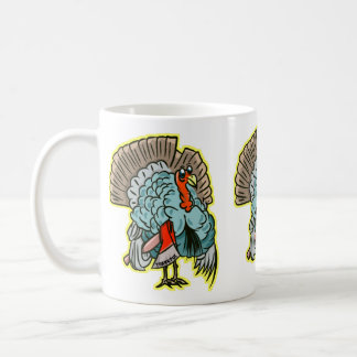 Turkey with an ax funny thanksgiving coffee mug