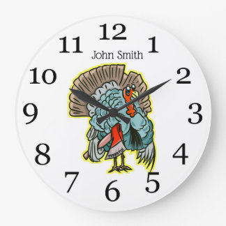 Turkey with an ax funny thanksgiving large clock