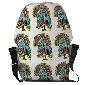 Turkey with an ax funny thanksgiving messenger bag