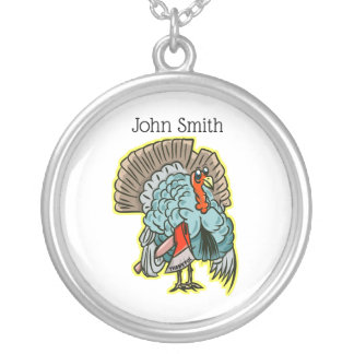 Turkey with an ax funny thanksgiving silver plated necklace