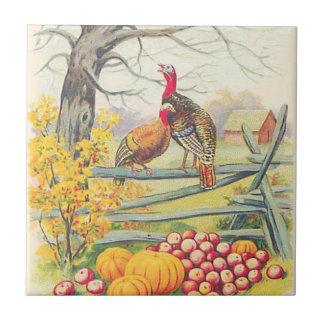 Turkeys Farm Pumpkin Apples Tree Fall Leaves Tile
