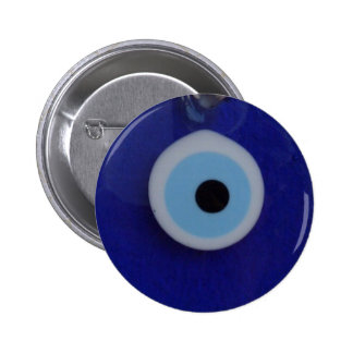 TURKISH BLUE GLASS EVIL EYE AMULET  Button
