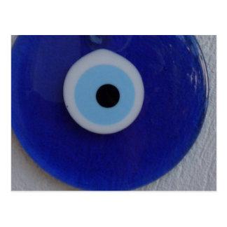 TURKISH  BLUE GLASS EVIL EYE AMULET Postcard