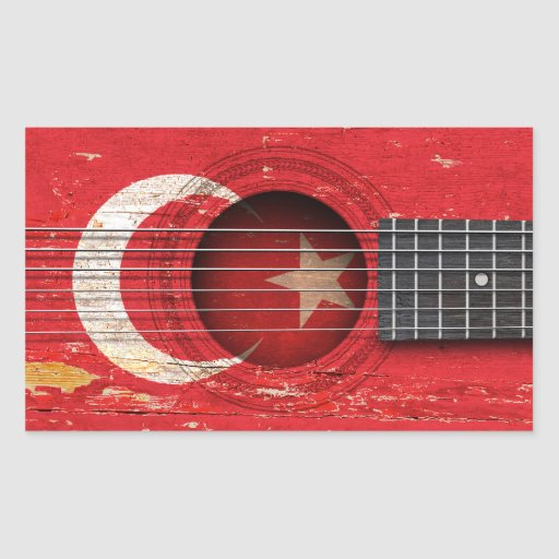 Turkish Flag on Old Acoustic Guitar Rectangle Sticker
