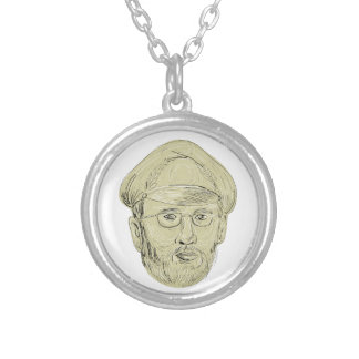 Turkish General Head Drawing Silver Plated Necklace