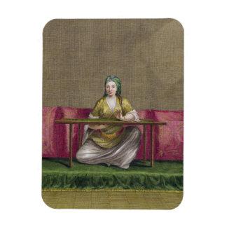 Turkish Girl, embroidering, 18th century (engravin Rectangular Photo Magnet